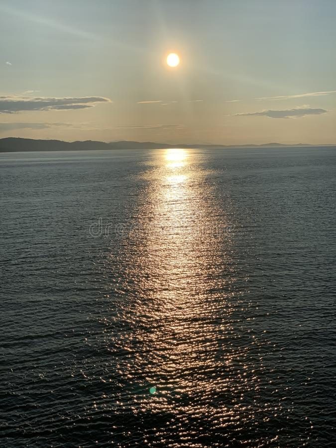 Zonsondergang van Vancouver stock foto's