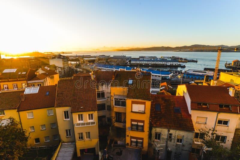 Zonsondergang van Vigo - Galicië - Spanje stock afbeelding