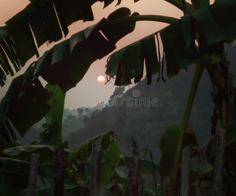 Zonsondergang vanaf de bovenkant stock afbeeldingen