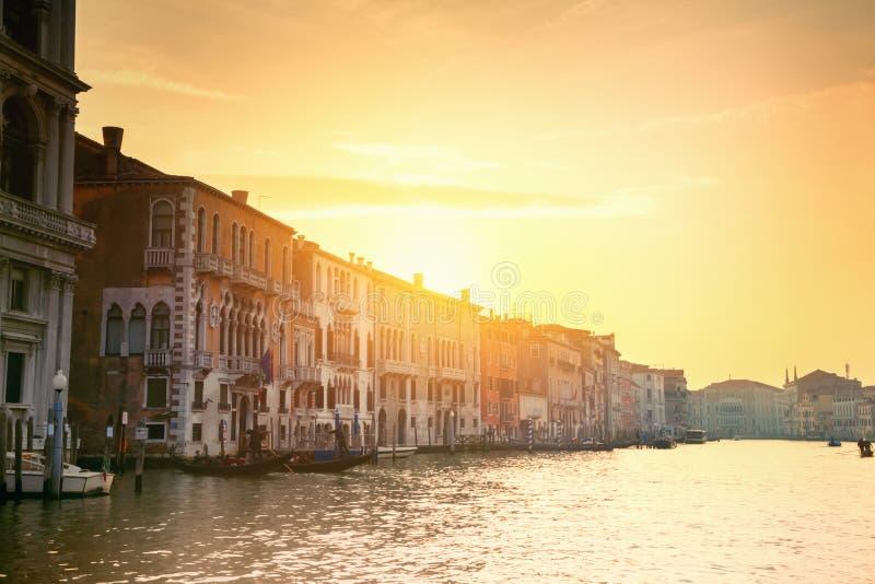 Zonsondergang in Venetië stock afbeelding