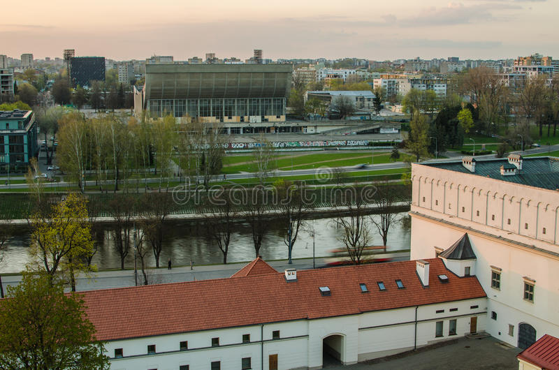 Zonsondergang in Vilnius, Litouwen. stock fotografie