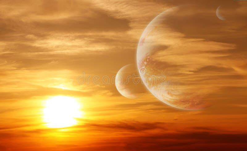 Zonsondergang in vreemde planeet stock fotografie