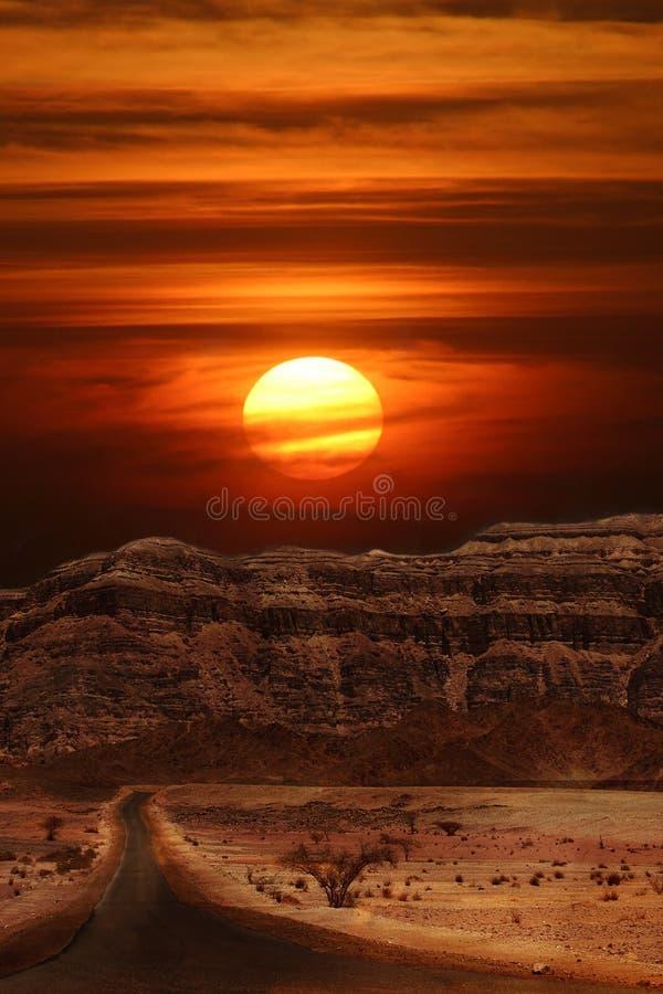 Zonsondergang in woestijn. royalty-vrije stock foto