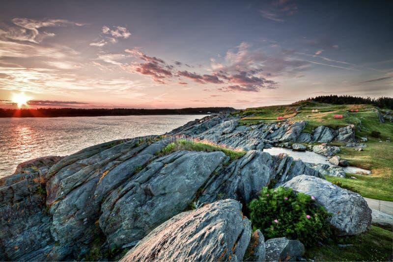 Zonsondergang Yarmouth in Nova Scotia royalty-vrije stock afbeeldingen