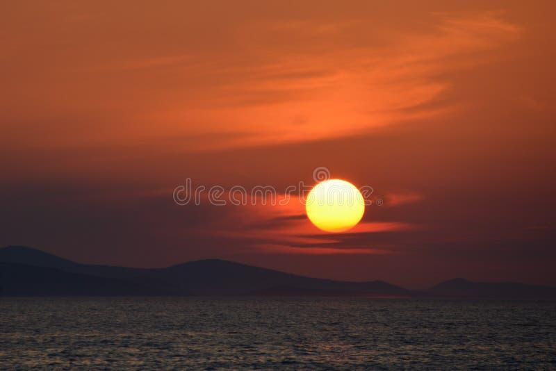 Zonsondergang in Zadar royalty-vrije stock foto