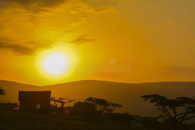 Zonsondergang in Zuid-Afrika stock foto