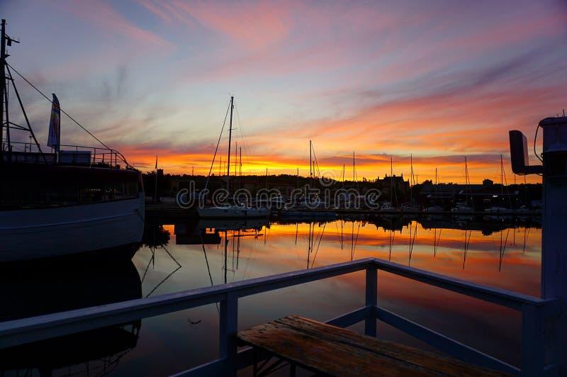 Zonsondergang in Zweden! royalty-vrije stock afbeelding