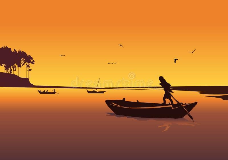 Zonsondergangachtergrond met rivier Silhouet van de mens in boot het roeien vector illustratie