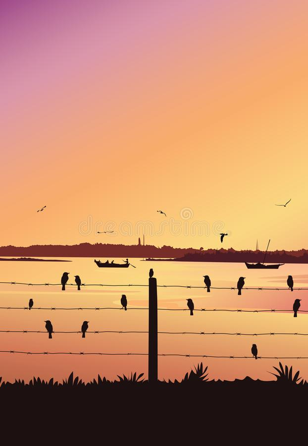 Zonsondergangachtergrond met rivier Silhouet van de mens in boot het roeien royalty-vrije illustratie