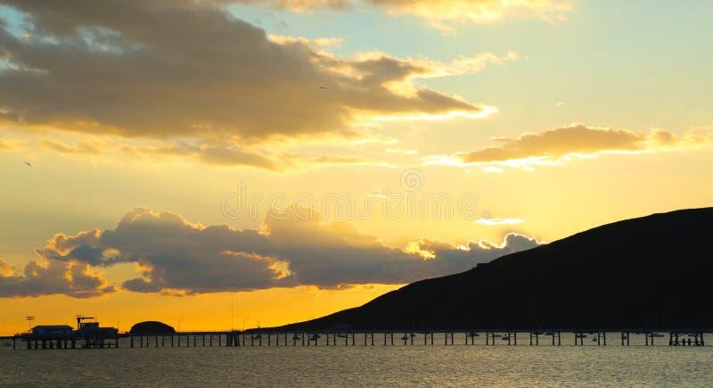 Zonsondergangavila Strand Californië stock fotografie