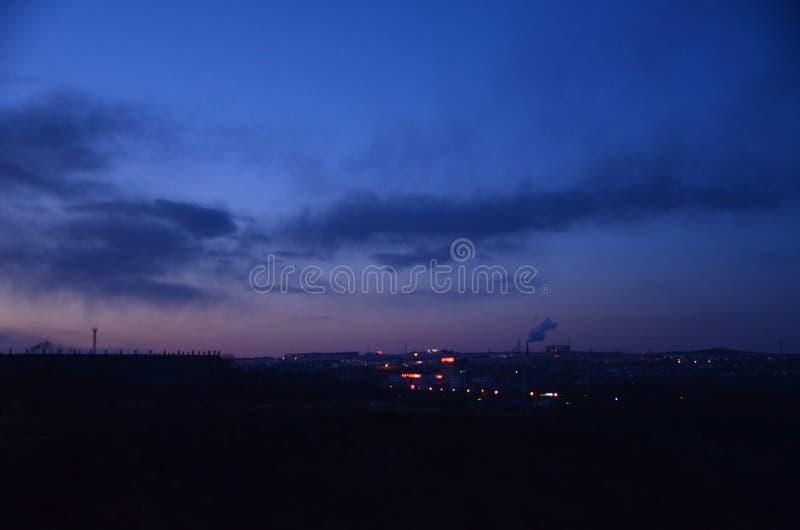 Zonsonderganggloed van de stad royalty-vrije stock foto