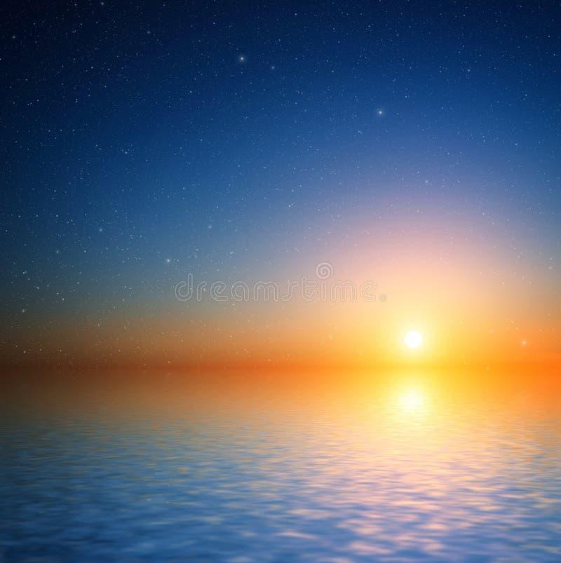 Zonsonderganghemel met sterren. stock afbeeldingen