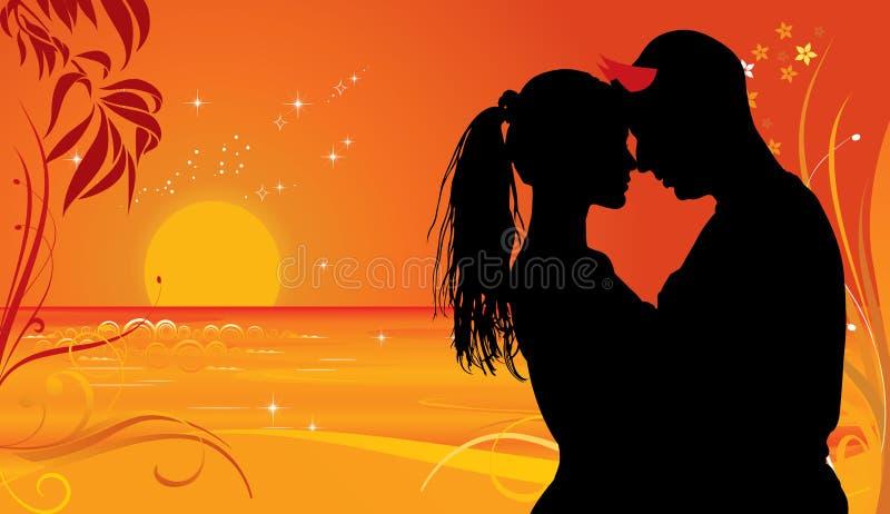 Zonsondergangkwaad in Liefde stock illustratie