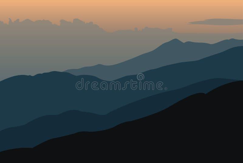 Zonsonderganglandschap met oranje silhouetten van bergen stock illustratie