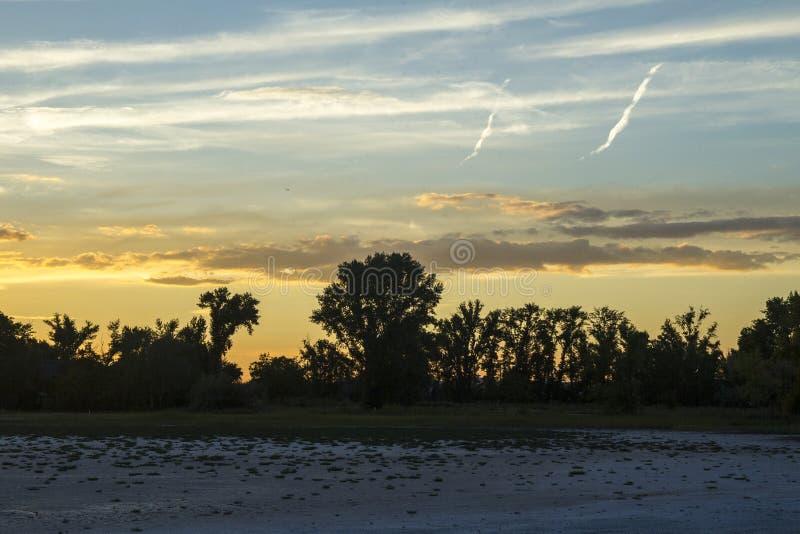 Zonsonderganglandschap met strand Donkere silhouetten van bomen tegen de het plaatsen zon Kleurrijke hemel, wolken Vliegtuigdrukk royalty-vrije stock foto's