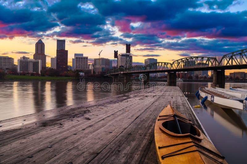 Zonsonderganglandschap van Portland, Oregon, de V.S. stock foto