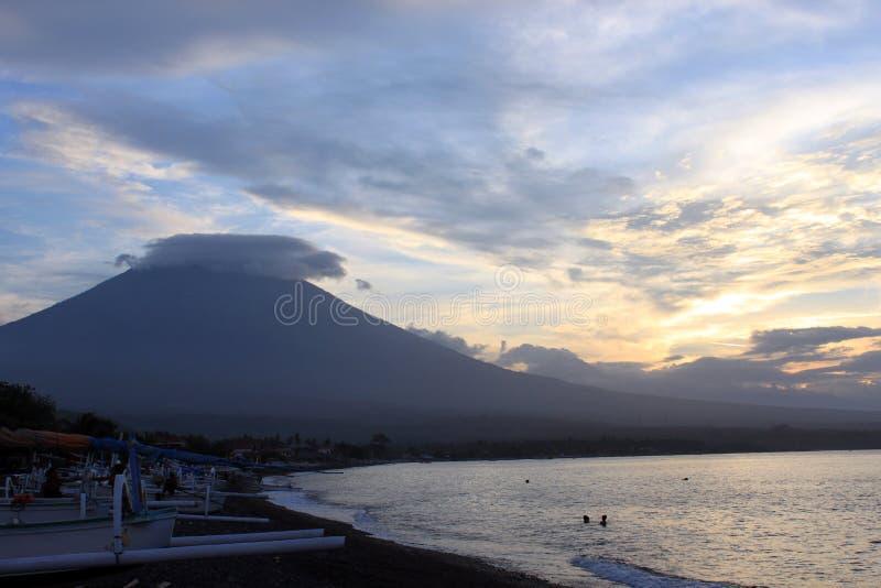 Zonsondergangmening in Amed, Bali royalty-vrije stock foto