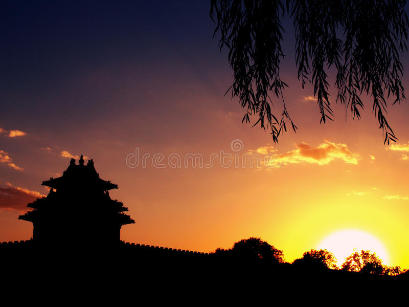 Zonsondergangmening in Peking stock fotografie