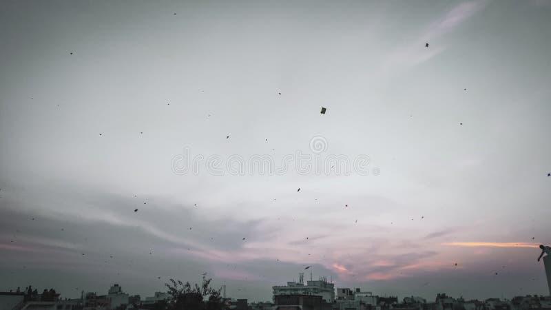 Zonsondergangmening van baroda stad, Gujarat, India stock foto's