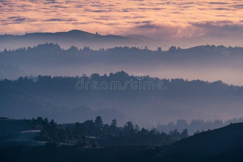 Zonsondergangmening van gelaagde die heuvels en valleien door een overzees van wolken in Santa Cruz-bergen worden behandeld; De b stock afbeeldingen