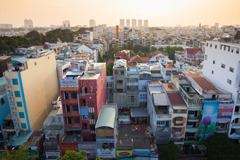 Zonsondergangmening van Ho Chi Minh City-horizon, Vietnam royalty-vrije stock afbeeldingen
