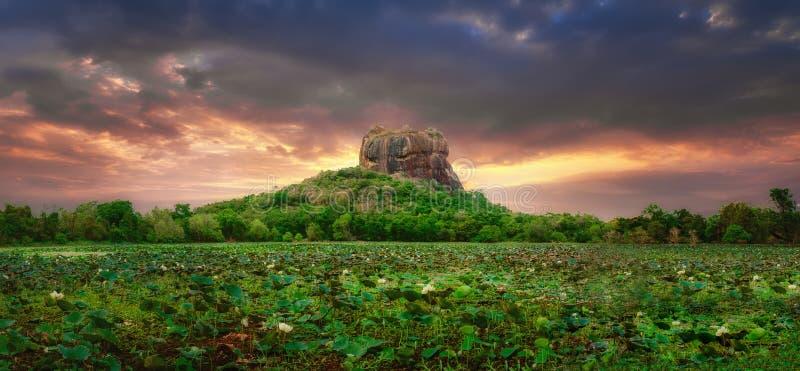 Zonsondergangmening van Lion Rock in Sigiriya, Sri Lanka royalty-vrije stock fotografie
