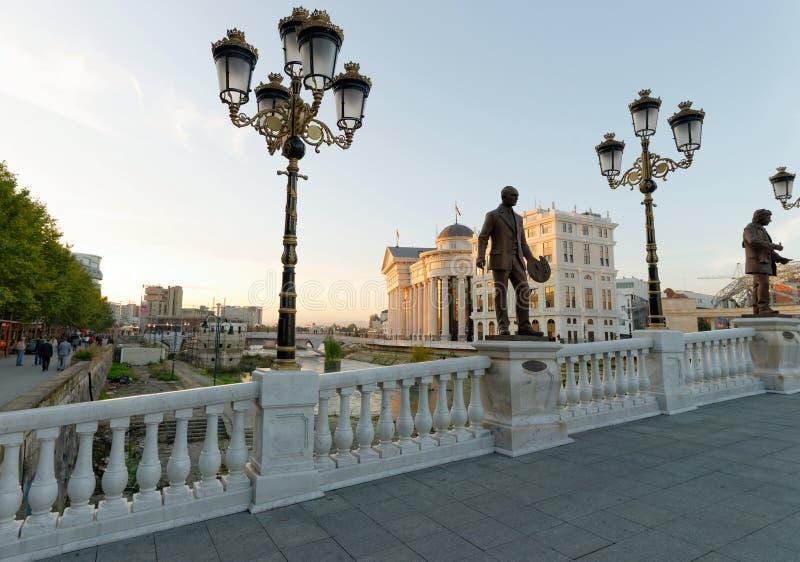 Zonsondergangmening van Macedonisch archeologisch museum in Skopje royalty-vrije stock fotografie