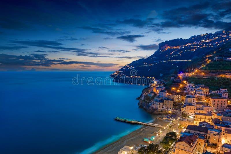 Zonsondergangmening van Minori, Amalfi Kust, Itali? royalty-vrije stock afbeeldingen