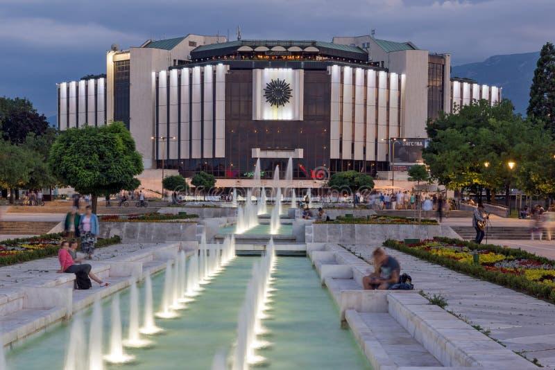 Zonsondergangmening van Nationaal Paleis van Cultuur in stad van Sofia, Bulgarije royalty-vrije stock afbeeldingen