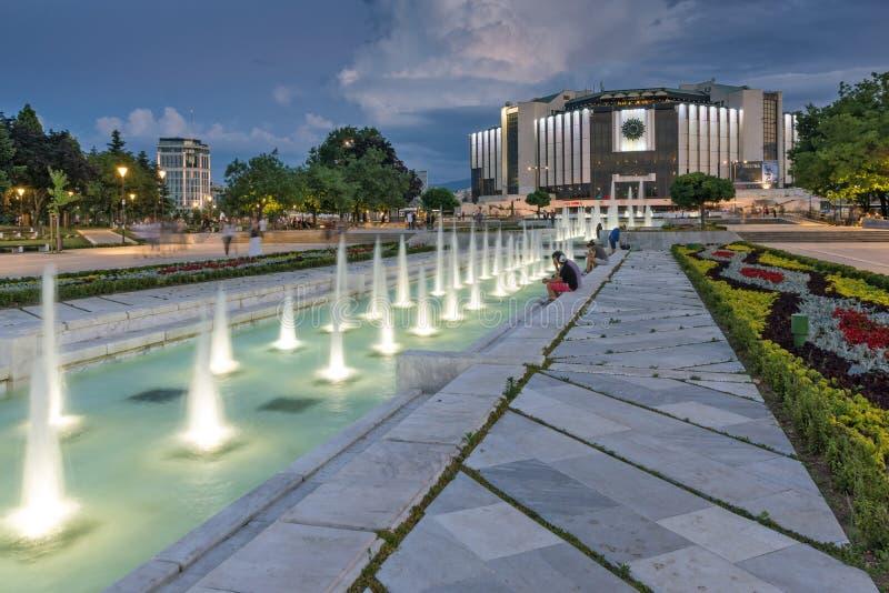 Zonsondergangmening van Nationaal Paleis van Cultuur in stad van Sofia, Bulgarije stock fotografie