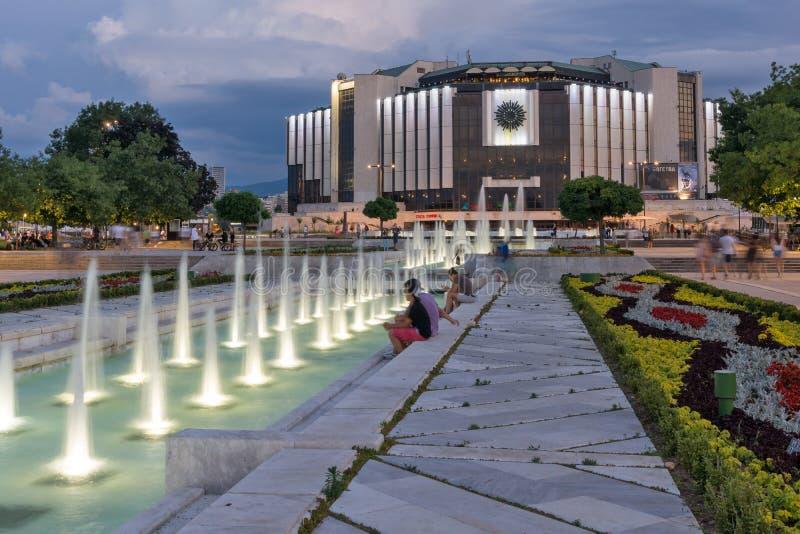 Zonsondergangmening van Nationaal Paleis van Cultuur in stad van Sofia, Bulgarije stock foto