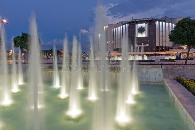 Zonsondergangmening van Nationaal Paleis van Cultuur in stad van Sofia, Bulgarije royalty-vrije stock fotografie