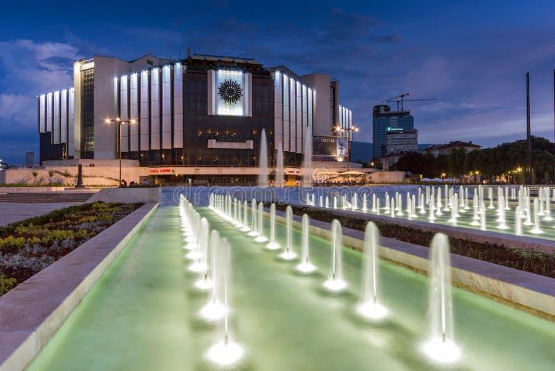 Zonsondergangmening van Nationaal Paleis van Cultuur in stad van Sofia, Bulgarije stock foto's