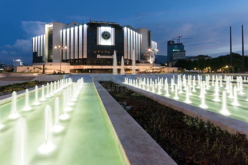 Zonsondergangmening van Nationaal Paleis van Cultuur in stad van Sofia, Bulgarije royalty-vrije stock afbeelding