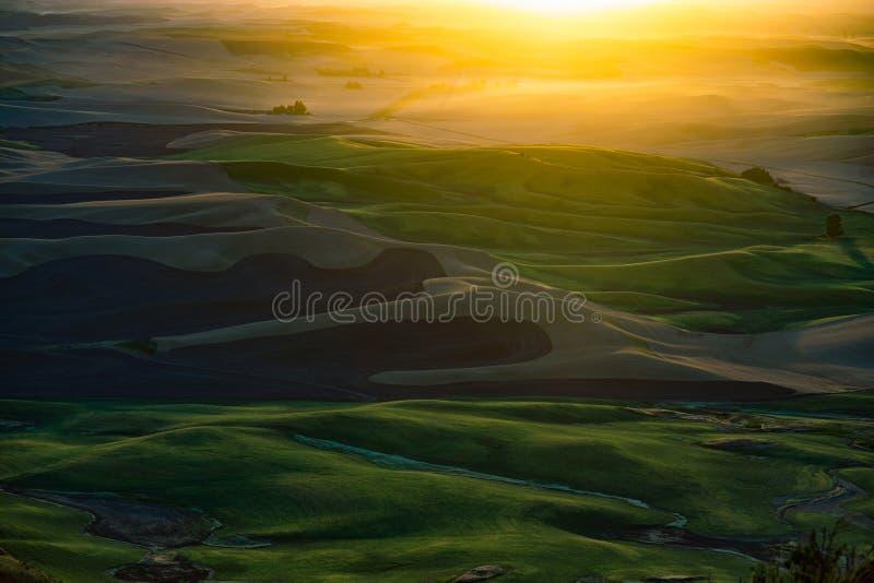 Zonsondergangmening van Steptoe-Butte stock afbeelding