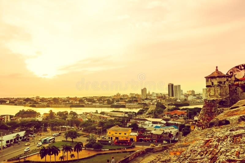 Zonsondergangmening van vesting over Cartagena in Colombia royalty-vrije stock afbeeldingen