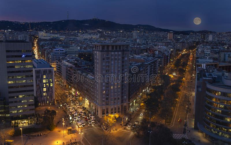 Zonsondergangmeningen van mijn hotel in Barcelona stock afbeelding