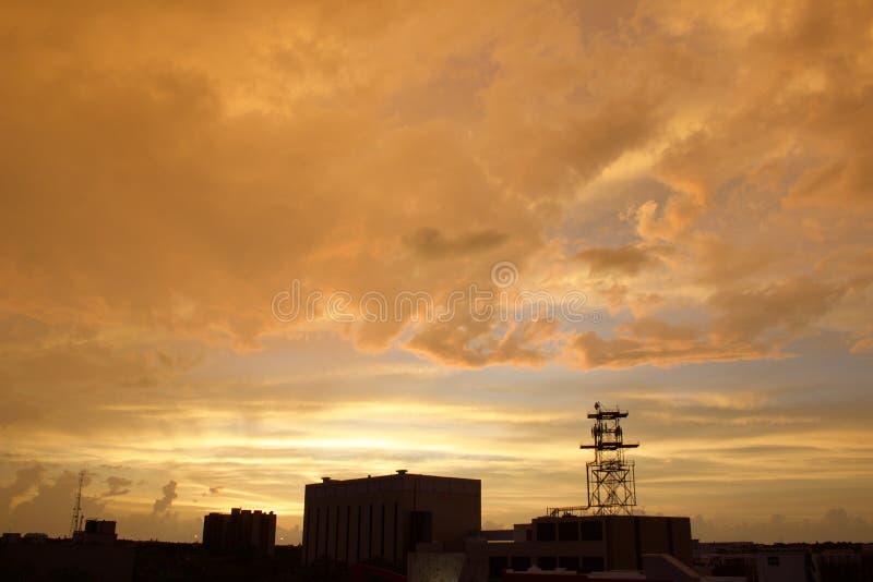 zonsondergangnevel royalty-vrije stock foto's