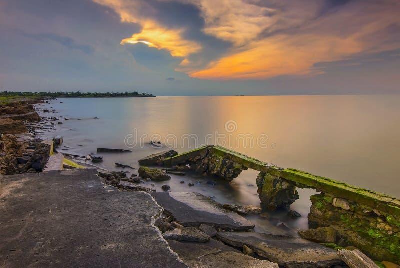 Zonsondergangogenblik Semarang Wonderfull Indonesië royalty-vrije stock foto's