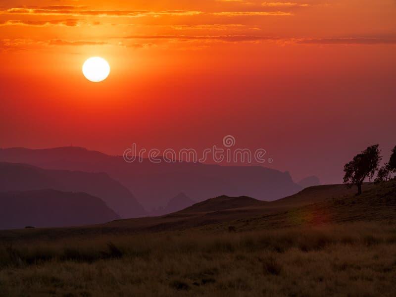 Zonsondergangpanorama van Semien-bergen, Ethiopië stock afbeelding