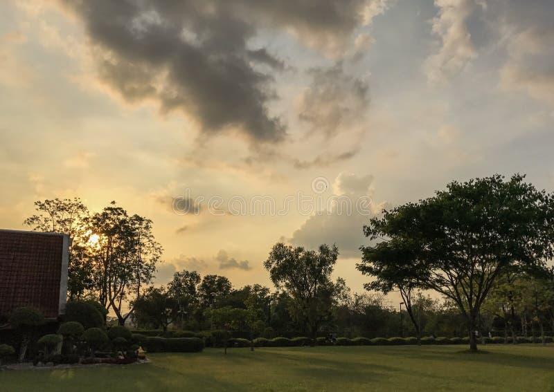 Zonsondergangpark royalty-vrije stock foto's