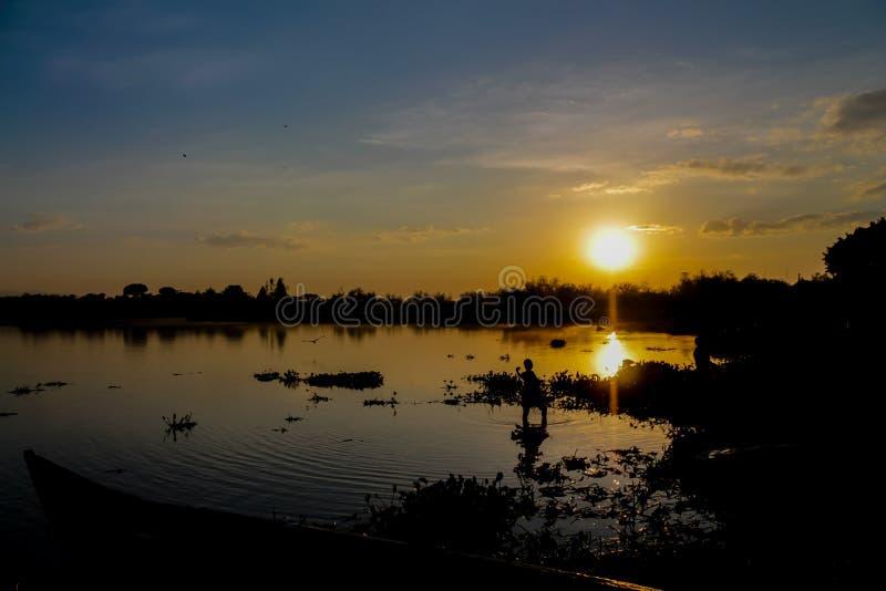 Zonsondergangsilhouet van een status in watermeisje bij de meerkust royalty-vrije stock afbeelding