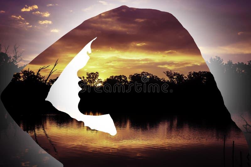 Zonsondergangsilhouet van jong meisjes zijprofiel stock fotografie