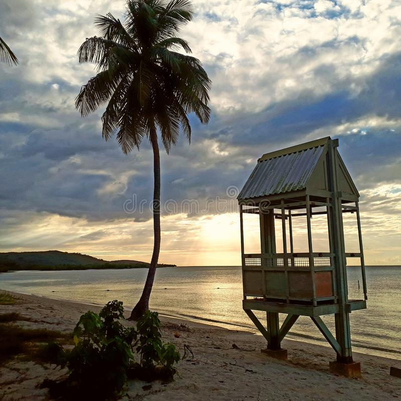 Zonsondergangstrand de Caraïben stock afbeelding