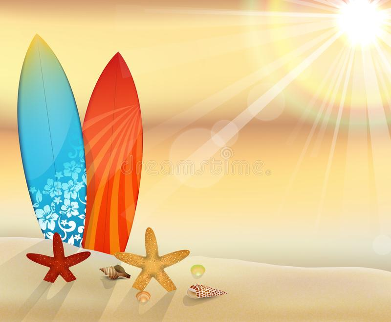 Zonsondergangstrand met surfplanken vector illustratie