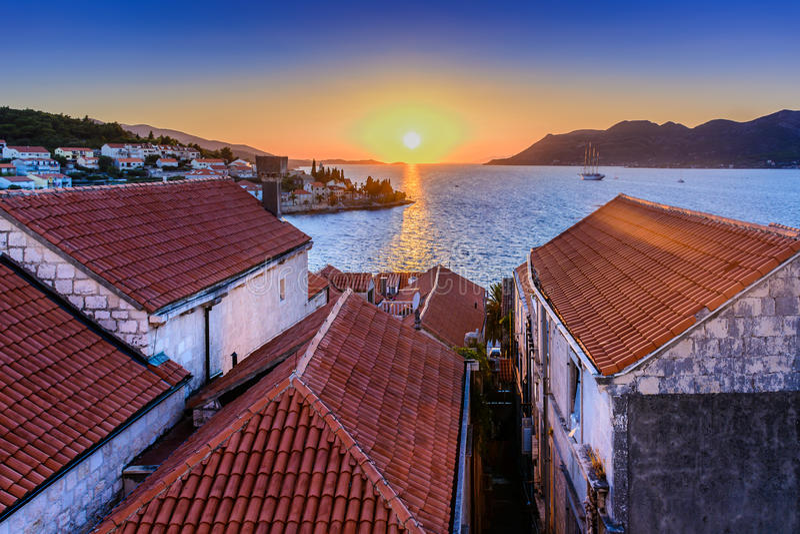 Zonsondergangtijd in Kroatië royalty-vrije stock foto