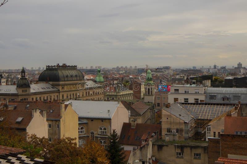 Zonsondergangweergeven op Zagreb royalty-vrije stock fotografie