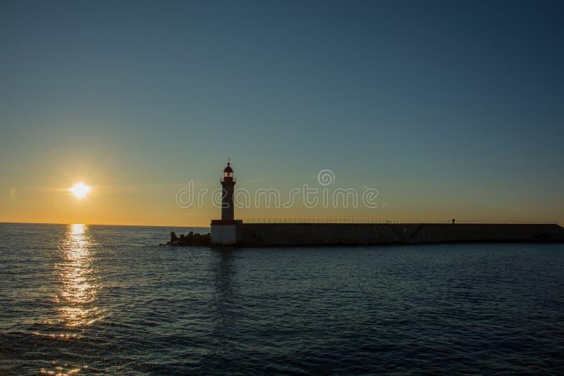 Zonsopgang in Bastia stock afbeeldingen
