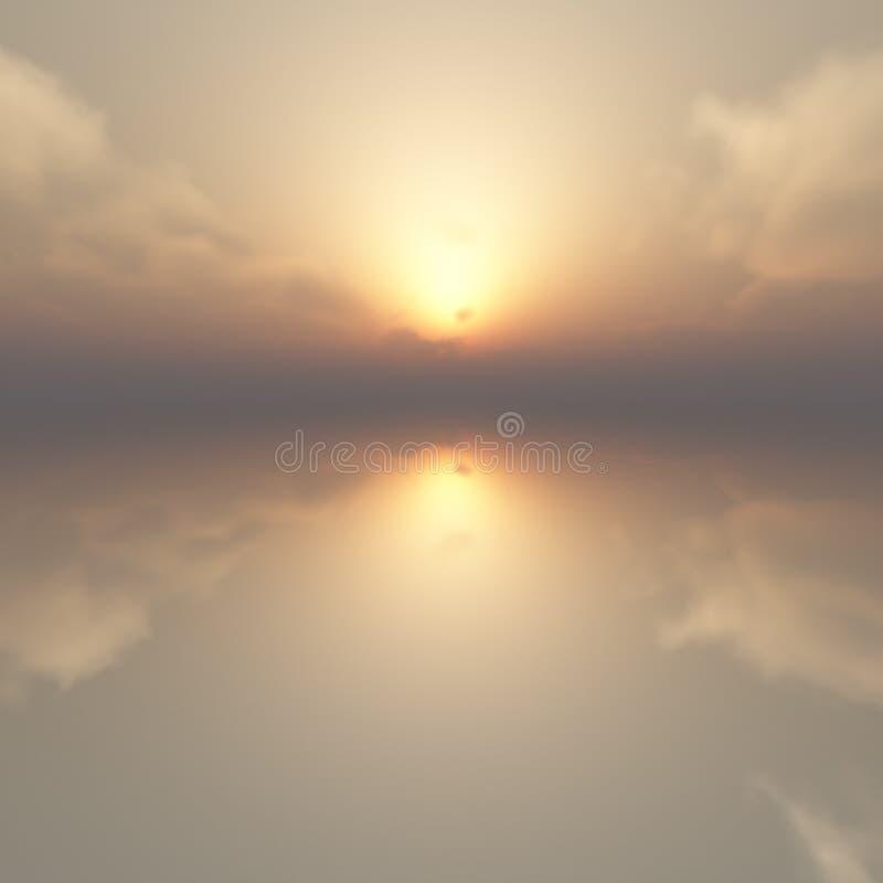 Zonsopgang Bewolkt Haze Lake royalty-vrije stock foto's
