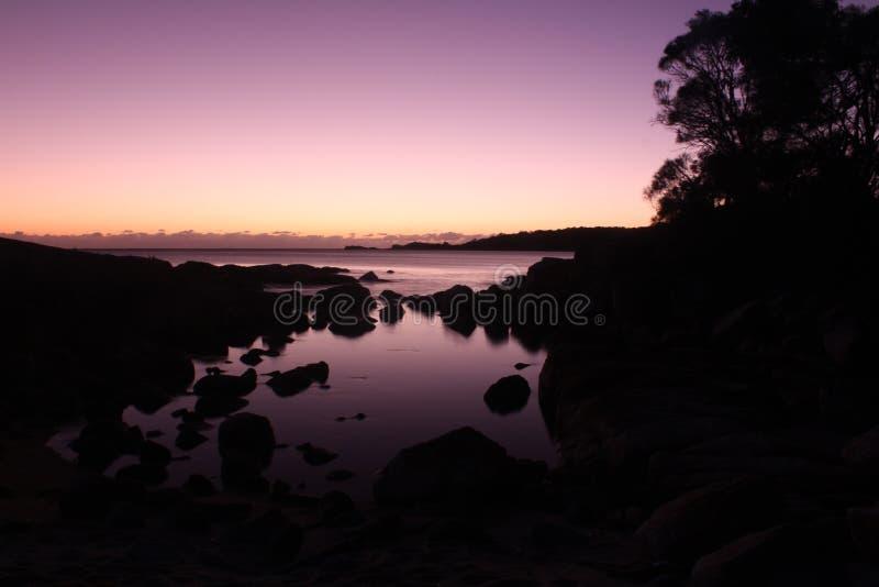 Zonsopgang bij Binalong-Baaioostkust van Tasmanige stock afbeelding